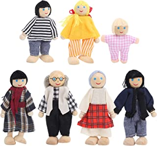 Family Dolls, Wooden Puppets Toy Set Miniature Baby Dollhouse Accessory Kids Early Educational Toys Dolls Ornaments (#2)