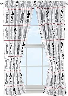"Disney Mickey Mouse Jersey White 4 Piece 63"" Curtain/Drapes Set (2 Panels, 2 Tiebacks)"