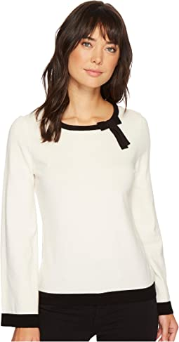 CeCe - Contrast Tipped Pullover Sweater w/ Bow