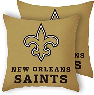 MT-Sports Football Super Bowl Throw Pillow Covers Pillow Cases Standard Size Decorative Pillowcase Protecter with Zipper 18x18 Inches Without Insert Set of 2 (New Orleans Saints)