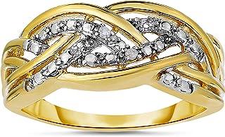 خاتم ناتاليا دراك الماس لهجة للنساء من الفضة الاسترليني المطلي بالذهب الأصفر (لون I-J/Clarity I2-I3)