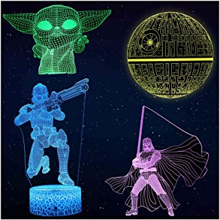 Aoevi Star Wars Gifts 3D Night Light for Kids Room Decor, Star Wars Toys with 7 Colors Changing Starwars Lamp with Remote ...