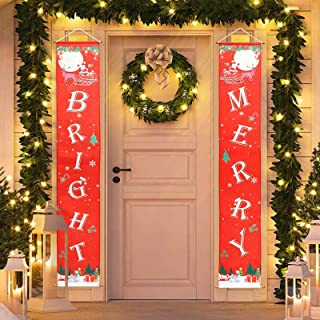 CHICHIC 2 PCS Christmas Banner Christmas Decorations Outdoor, Christmas Hanging Sign for Home Office Porch Front Door Clas...