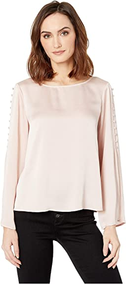 Button Bell Sleeve Hammer Satin Blouse