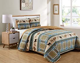 Southwestern Great Outdoors Cabin Lodge Bedspread Quilt Set With Plaid Tribal Patterns Wildlife Deer Buck Elk Pinecone Wildlife Imagery in Brown & Turquoise Blue - Deer Pine Trail (Full / Queen)