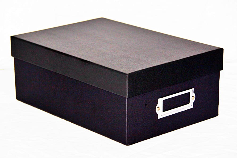 Decorative Photo Storage Box with lid and Label (Black)