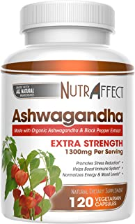 Organic Ashwagandha Root Powder 1300mg - 120 Vegan Capsules with Black Pepper Extract for Better Absorption - Natural Anti Anxiety, Stress Relief, Mood, Thyroid & Adrenal Support Herbal Supplement (1)