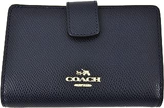 COACH Crossgrain Leather Medium Corner Zip Wallet Clutch (Midnight)