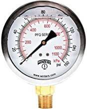 Winters PFQ Series Stainless Steel 304 Dual Scale Liquid Filled Pressure Gauge with Brass Internals, 0-160 psi/kpa, 4
