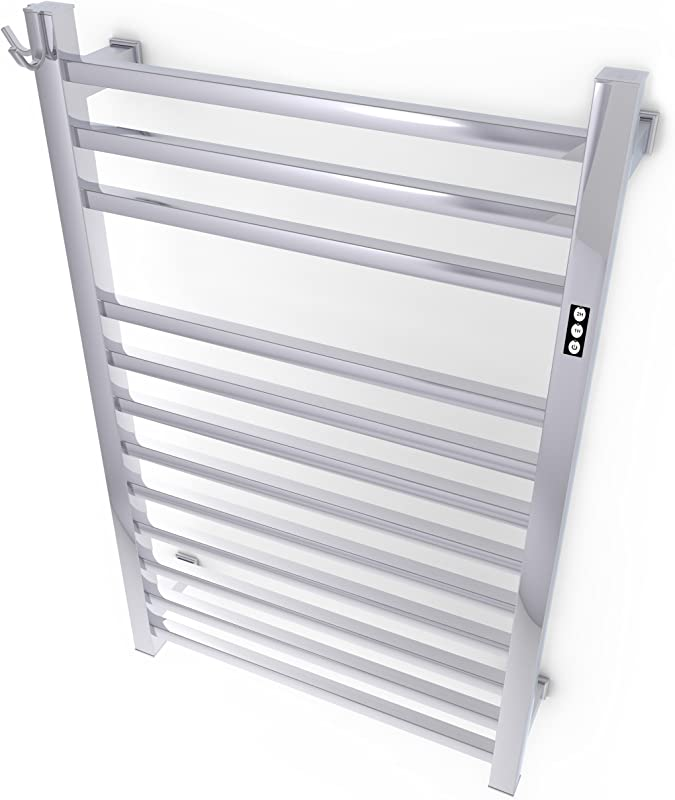 Brandon Basics Wall Mounted Electric Towel Warmer With Built In Timer And Hardwired And Plug In Options Stainless Steel Polished
