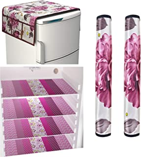 Yellow Weaves Combo of Exclusive Design Fridge Top Cover,2 Fridge Handle Covers 4 Fridge Mats (Multi Color, 7 Piece set)