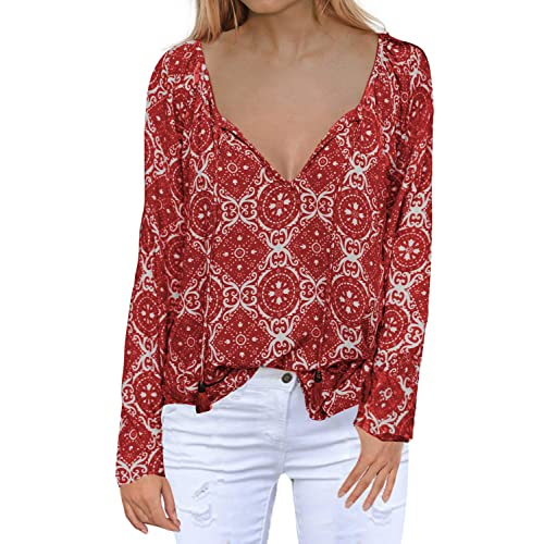 2b96bce1a8669 MIHOLL Women s Casual Tops Long Sleeve V Neck Printed Chiffon Blouse Loose  Shirts