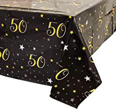 Juvale 50th Birthday Table Cloth Cover Party Decoration (3 Pack) 54 x 108 Inches