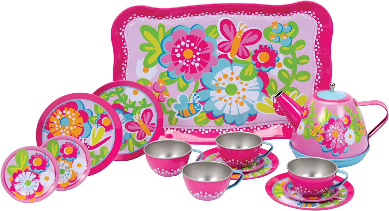 Schylling Garden Party 15 piece Tin Tea Set