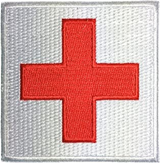 """Medic Red Cross Sewing Iron on Embroidered Applique Patch 3""""x3"""" Red on White by Ranger Return (IRON-MEDIC-WHRD-33)"""