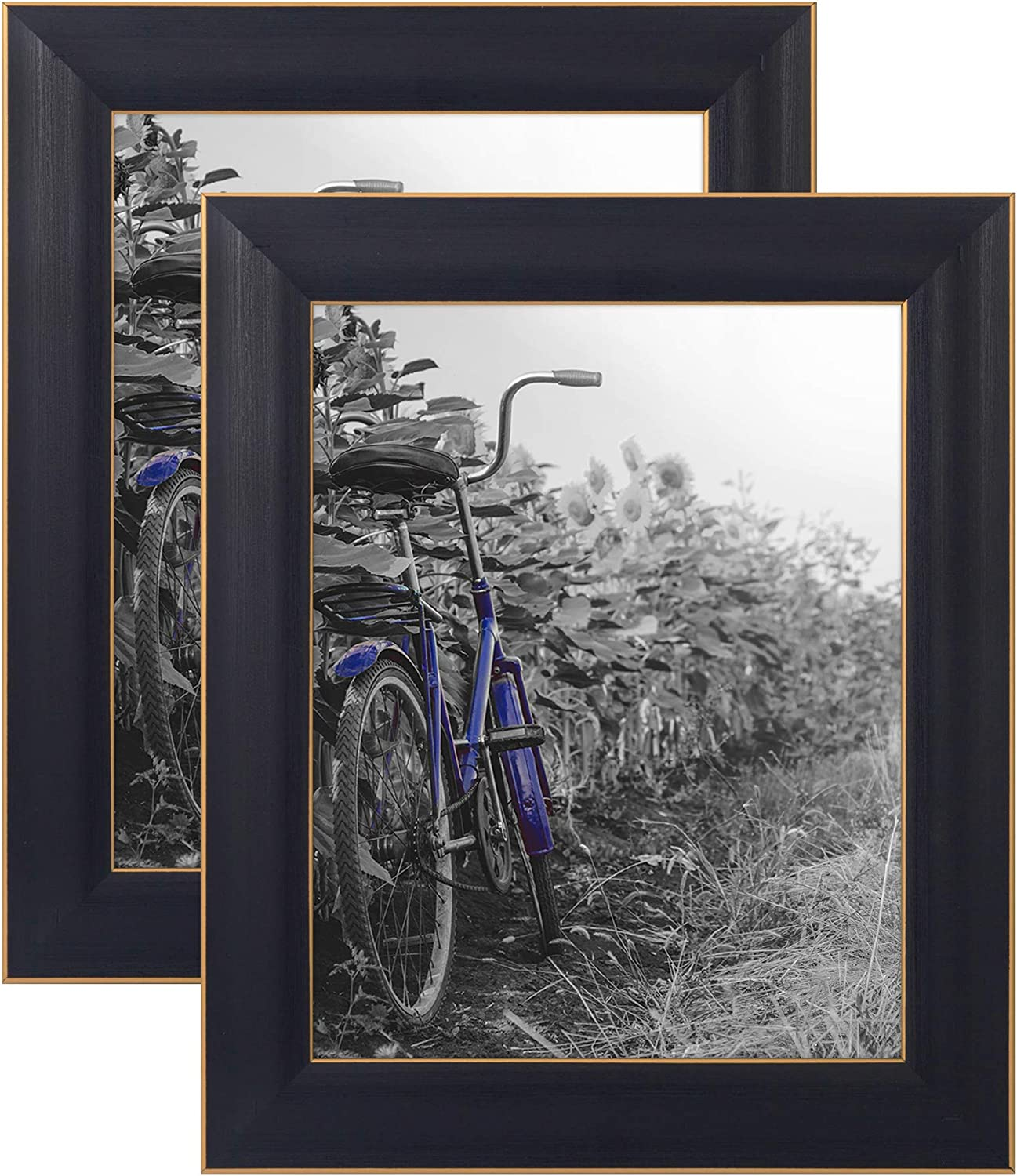 Americanflat 8x10 Rustic Black Picture Frame with Polished Glass