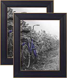 Americanflat 2 Pack - 8x10 Black Picture Frames with Easels - Made for Wall and Tabletop Display