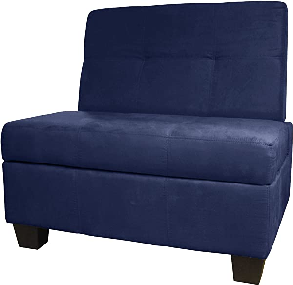 Butler Microfiber Upholstered Tufted Padded Hinged Storage Ottoman Bench 36 Inch Size Microfiber Suede Dark Blue