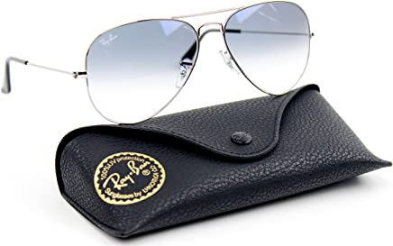 1cdb4a489a Amazon.com  Ray-Ban RB3025 Aviator Gradient Unisex Sunglasses (Silver Metal  Frame Light Blue Gradient Lens 003 3F