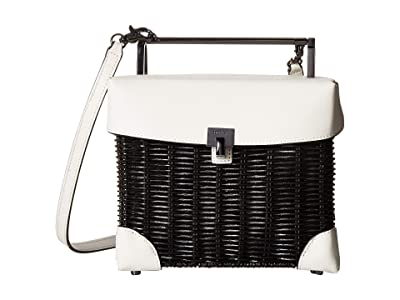 Botkier Lennox Straw Lunchbox (White/Black) Cross Body Handbags
