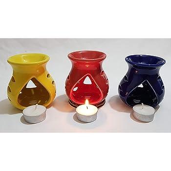 Pure Source India Ceramic Oil Diffuser Set of 3 (Multicolor)