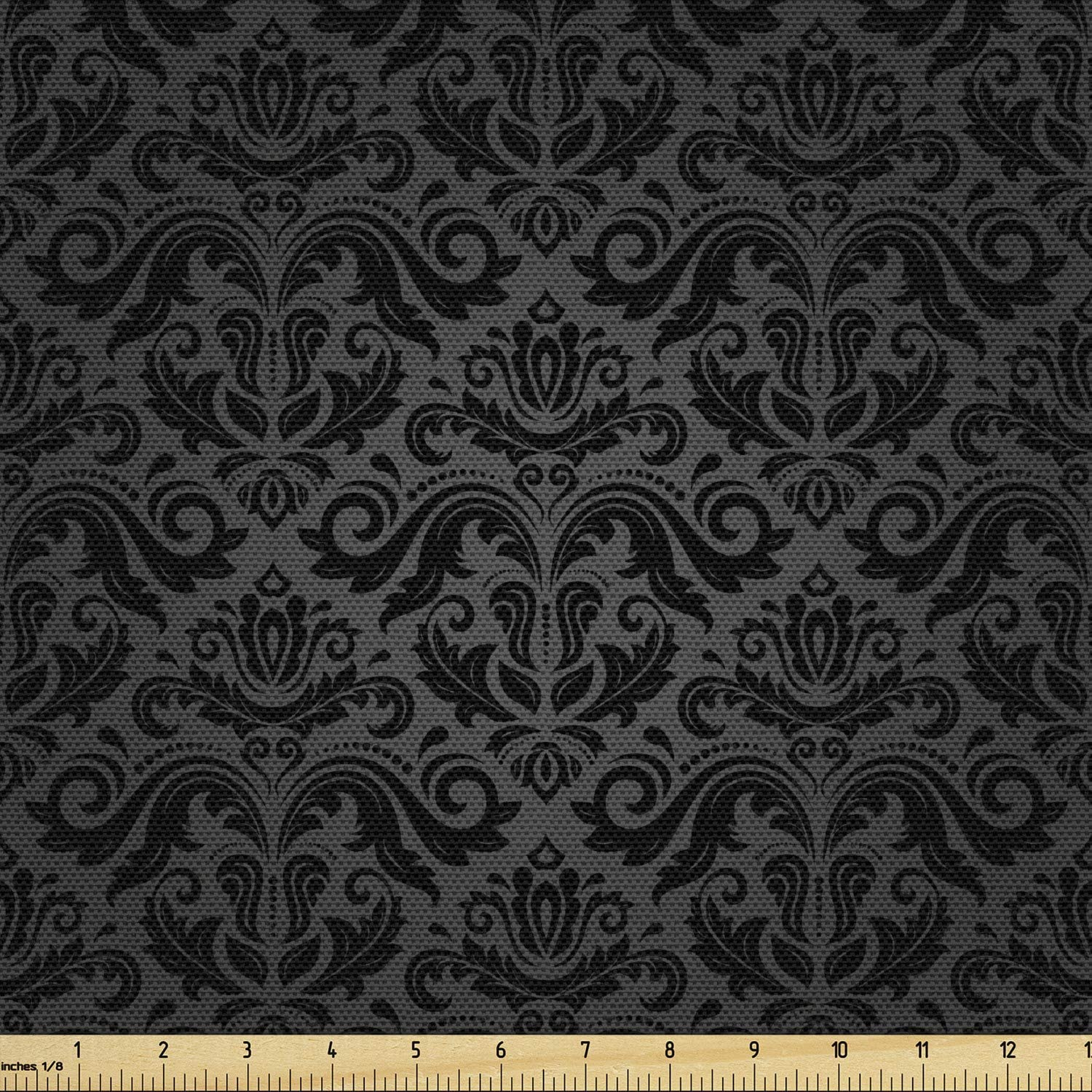Ambesonne Dark Grey Fabric by The Yard, Black Damask and Floral Elements Oriental Antique Ornament Vintage, Decorative Fabric for Upholstery and Home Accents, 3 Yards, Black Grey