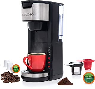 Mixpresso Single Serve 2 in 1 Coffee Brewer K-Cup Pods Compatible & Ground Coffee,Compact Coffee Maker Single Serve With 3...