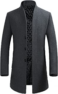 FASHINTY Men's Classical France Style Stand Collar Warm Wool Long Jacket #00001W