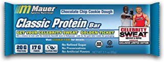 Mauer Sports Nutrition Classic Protein Bar, Chocolate Chip Cookie Dough. 20g Protein, 17g Fiber, Non-GMO, Gluten-Free, 12 ct. Limited Edition Celebrity Sweat Exclusive