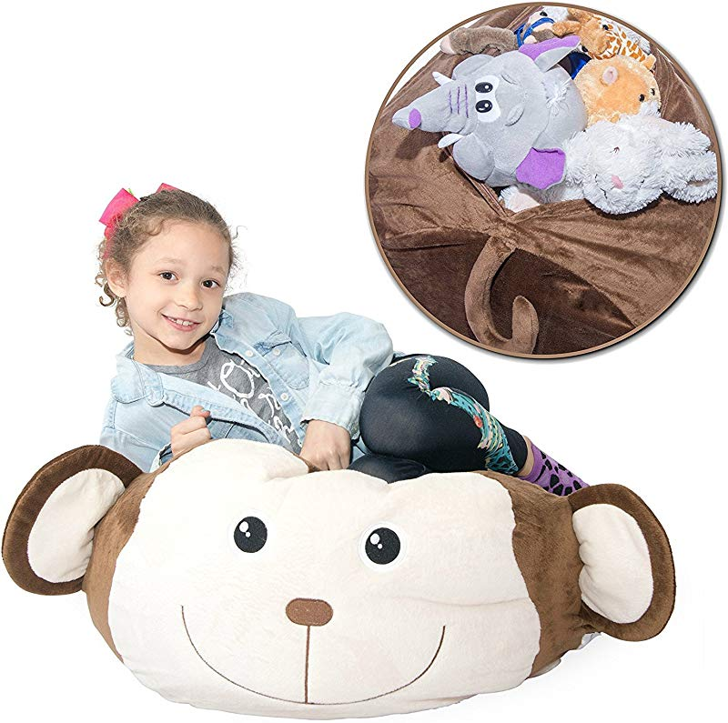Jumbo Stuffed Animal Storage Bean Bag Unfilled Soft N Snuggly Comfy Fabric Kids Love Monkey Pig Or Elephant Replace Your Mesh Toy Hammock Or Net Store Extra Blankets Pillows Too