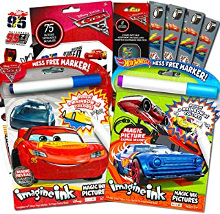 Disney Cars and Hot Wheels Magic Ink Coloring Book Set Kids Toddlers -- Bundle with 2 Imagine Ink Coloring Books with Invisible Ink Pens, 50 Cars Temporary Tattoos and over 100 Cars Stickers