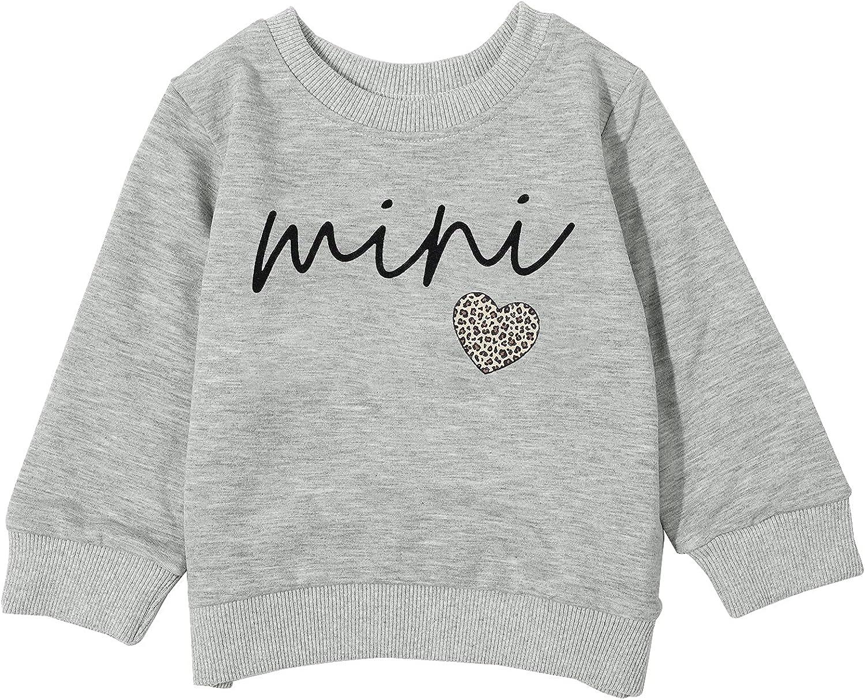 Toddler Baby Girls Boys Mini Print Sweatshirt Unisex Long Sleeve Pullover T-Shirt Tops Fall Winter Clothes