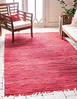 Unique Loom Chindi Cotton Collection Hand Woven Natural Fibers Red Area Rug (5' 0 x 8' 0)