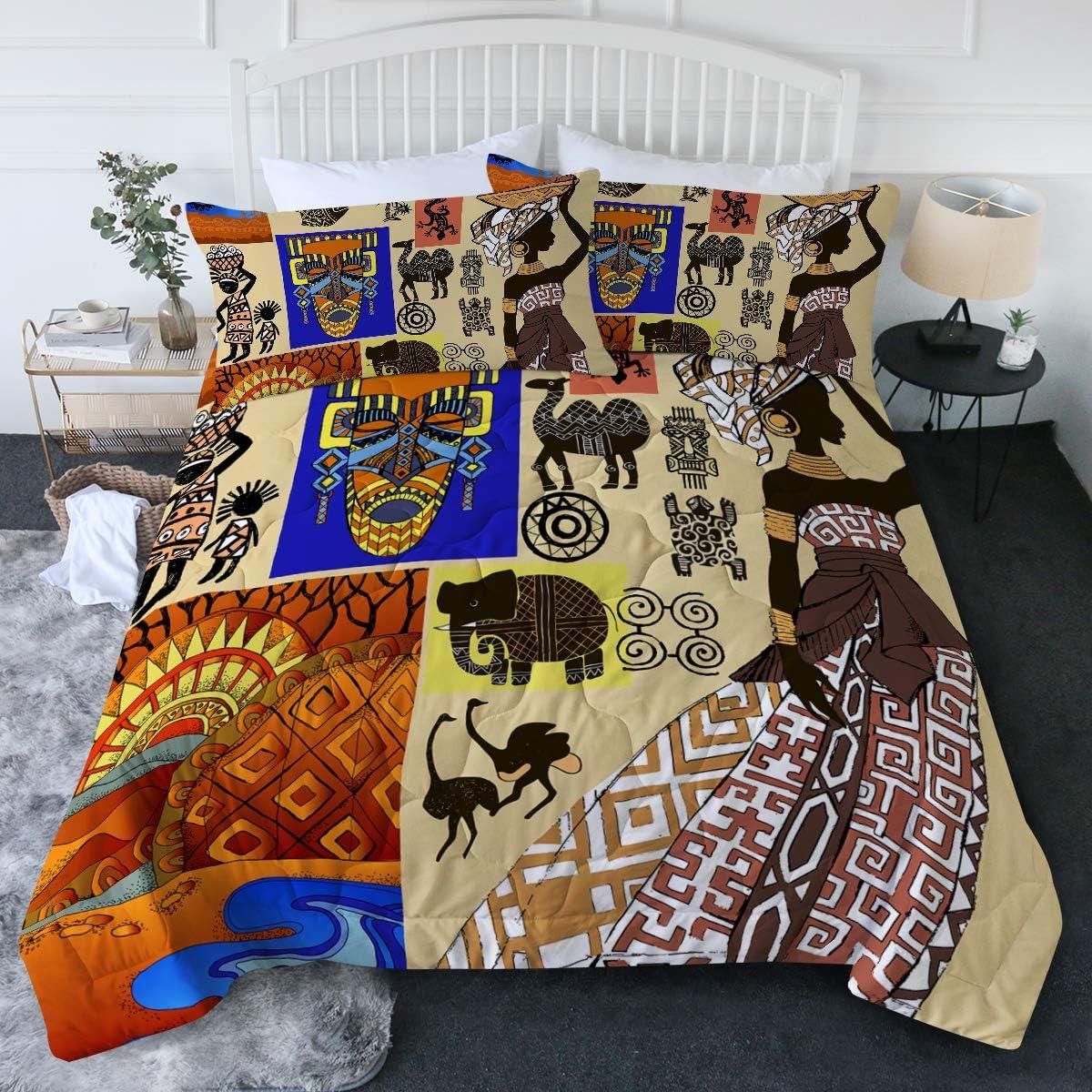 限定タイムセール BlessLiving African 半額 American Woman Grunge Set Collage Comforter