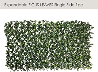 ECOOPTS Artificial Ficus Leaf Faux Ivy Expandable/Stretchable Privacy Fence Screen, Single Side Leaves and Vine Decoration for Outdoor, Garden, Yard