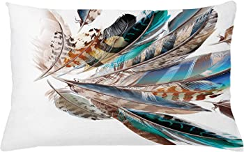 Ambesonne Feathers Throw Pillow Cushion Cover, Vaned Types and Natal Contour Flight Bird Feathers and Animal Skin Element Print, Decorative Rectangle Accent Pillow Case, 26 X 16, Teal Brown