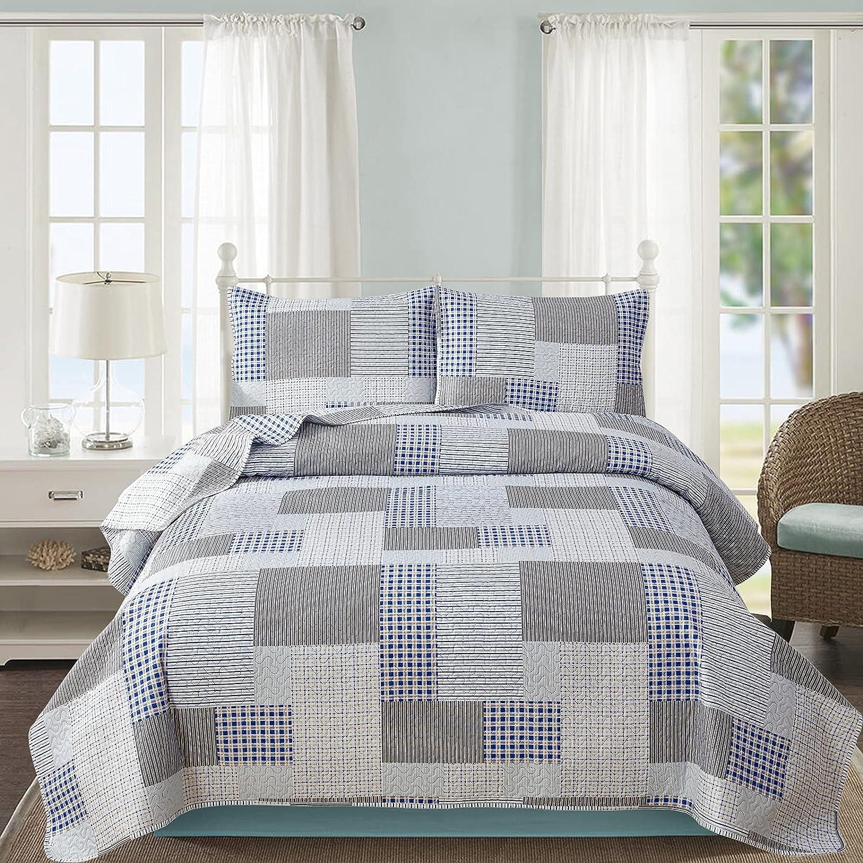 Plaid Ultra Soft Thin Summer Quilt Lines Long-awaited Ligh Grid Ultra-Cheap Deals Blue Gray Set