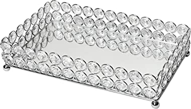 Elegant Designs Elipse Crystal Decorative Jewelry or Makeup Vanity Organizer Mirror Tray, Chrome