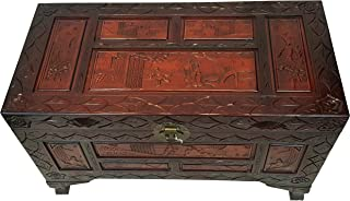 Oriental Furniture Warehouse Chinese Carved Chest in Red Mahogany Finish 24