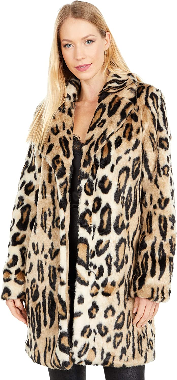 Apparis Lana Leopard Faux Fur Coat with Hood