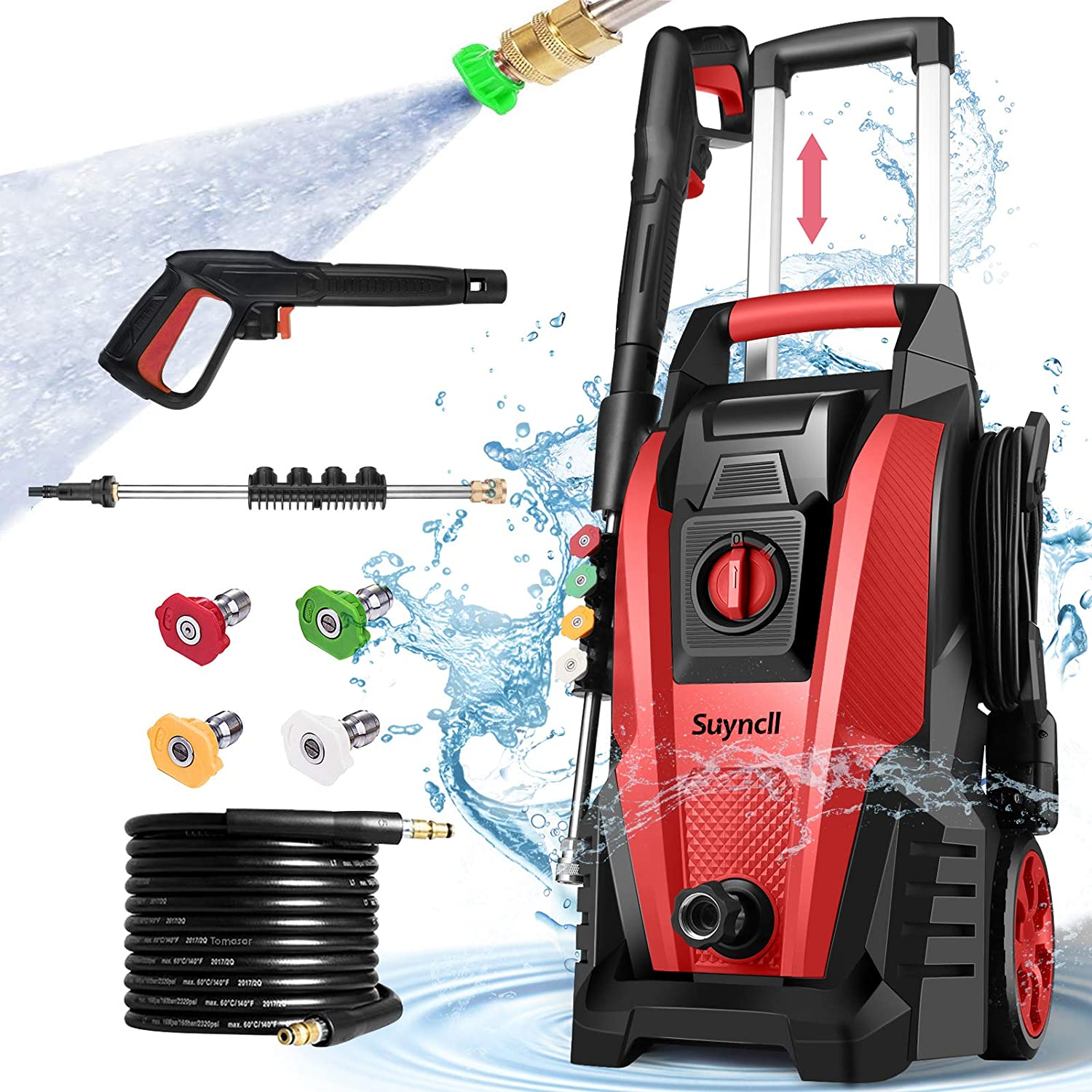 Suyncll Pressure Washer, 3800PSI Electric Power Washer, 2000W High Pressure Washer, Professional Washer Cleaner, with 4 Nozzles, Soap Bottle and Hose Reel, Best for Cleaning Cars, Driveways, Patios : Garden & Outdoor