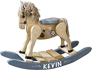 LifeSong Milestones Personalized Solid Oak Wooden Rocking Horse Sports Toy for Toddlers Childrens and Kids Housewarming Nursery Gift Decorations Handcrafted in The USA Size: 32