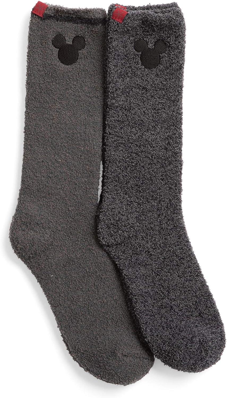 Barefoot Dreams 2-Pack CozyChic Classic Disney Men's Mickey Mouse Socks, Men's Socks, Crew Socks, Plush Socks, Fuzzy Socks