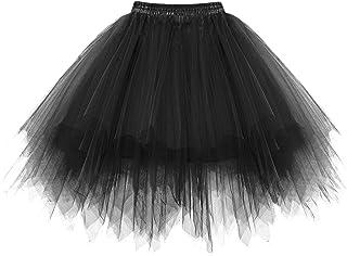 HomRain Tutu Tüllrock 50er Rockabilly Unterrock Crinoline Petticoat Fasching Cosplay Underskirt Kurz Ballett Ballkleid Retro Abendkleid Tanzkleid Zubehör