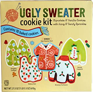 Trader Joe's Ugly Sweater Cookie Kit - Chocolate and Vanilla Cookies with Icing and Candy Sprinkels - Christmas Favorite!