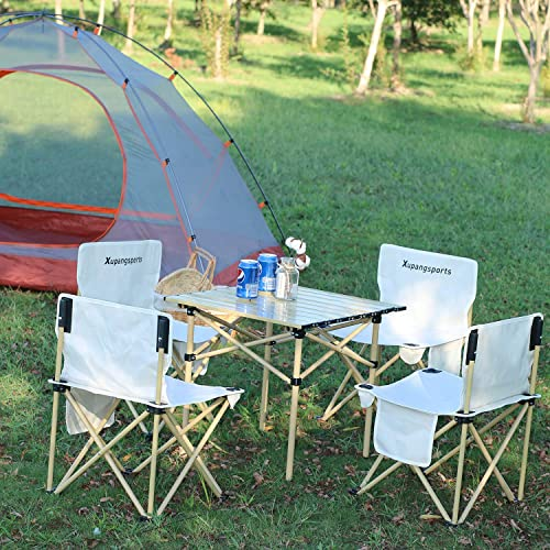 high quality Folding Camping Table with Chairs - Portable Picnic Table Seats Roll Up outlet online sale Table with Carrying Bag for Indoor high quality Outdoor, Travel, Beaches, Party, BBQ, Backyard outlet sale