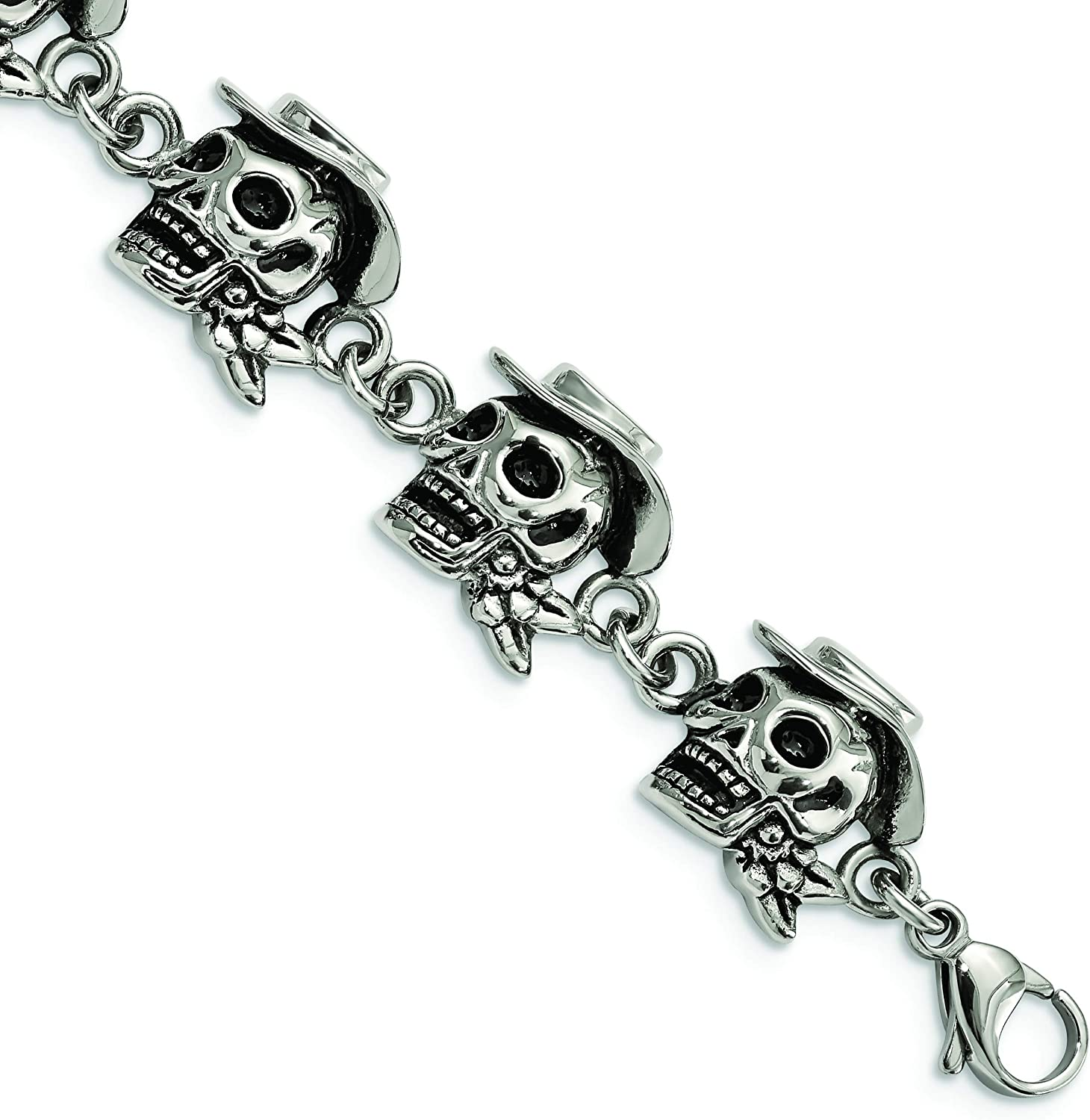 Stainless At the price of surprise Steel Antiqued lowest price Pirates Hat 8.5in Bracelet w