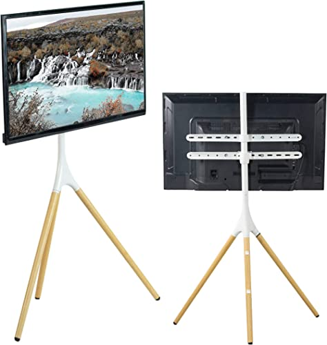 VIVO White Artistic Easel 45 to 65 inch LED LCD Screen | Studio TV Display Stand | Adjustable TV Mount with Swivel an...