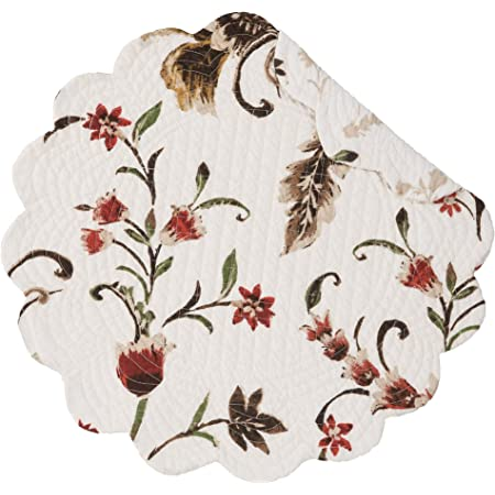 Amazon Com C F Home Autumn Bloom Round Single Placemat Reversible Cotton Floral Fall Harvest Table Mat For Kitchen Dining Table Round Placemat Cream Home Kitchen