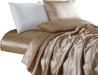 Chezmoi Collection 4-Piece Bridal Satin Solid Color Sheet Set (King, Champagne)